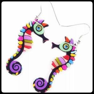Bright Seahorse Earrings
